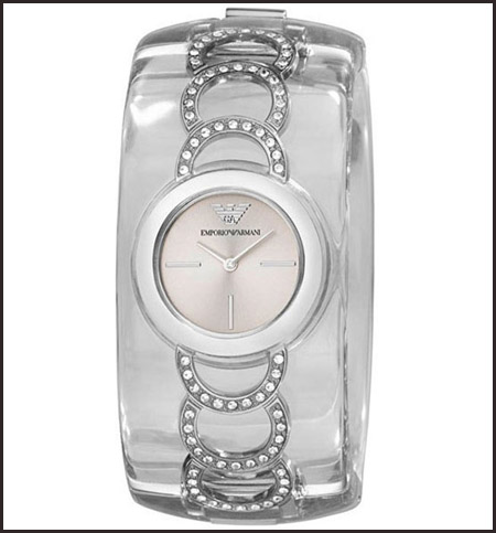 Armani-Women-Quartz-Plastic-Bangle-Silver-Dial-Watch Best 7 Armani Ladies Watches Designs