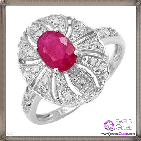 Attractive-Ring-With-Diamonds-and-Created-Ruby-Beautifully-Crafted 32+ Most Elegant Genuine Ruby Rings For Women