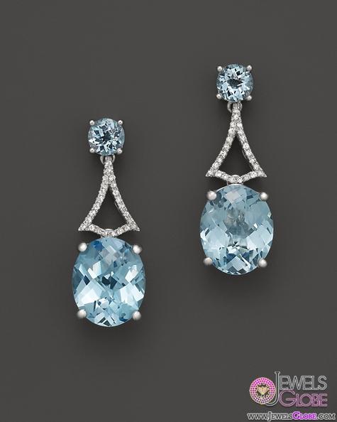Badgley-Mischka-Blue-Topaz-Drop-Earrings-With-Diamonds The 43 Hottest Gemstone Drop And Stud Earrings Designs for Women