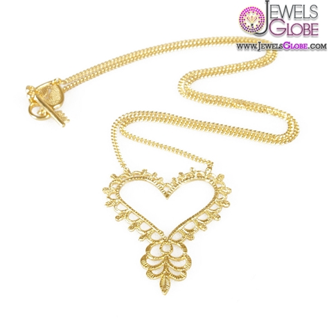 Beautiful-feminine-piece-with-hand-carved-heart-pendant-and-swirl-design The 29 Most Popular Gold Pendant Designs For Women