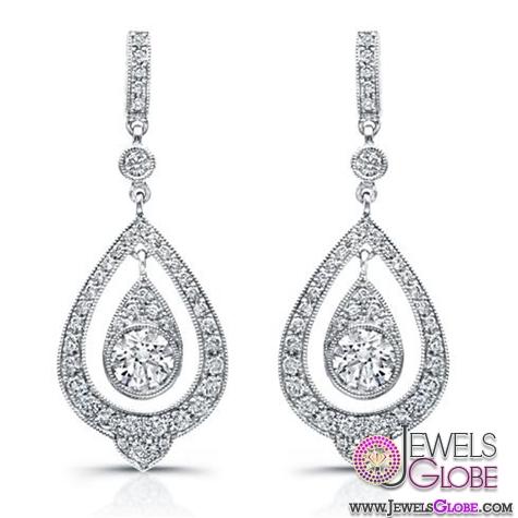 Beverley-K-Diamond-Teardrop-Earrings-with-Dangling-White-Sapphire 12 Diamond Teardrop Earrings Hot Designs For Women