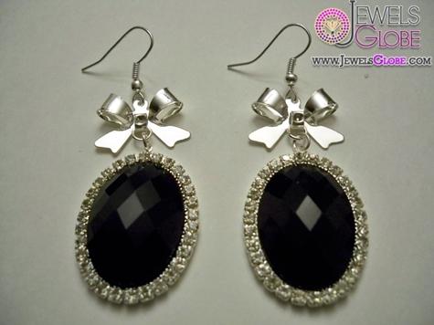 Black-Diamond-Accent-Silver-Women-Earring Latest Fashion Black Diamond Earrings For Women