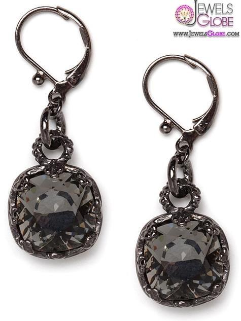 Black-Diamond-Hematite-Drops-earrings-from-Bauble-Bar Latest Fashion Black Diamond Earrings For Women