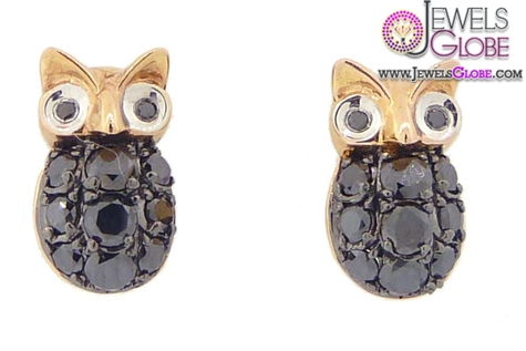 Black-Diamond-Owl-Studs-Rose-Gold-earrings-for-women Latest Fashion Black Diamond Earrings For Women