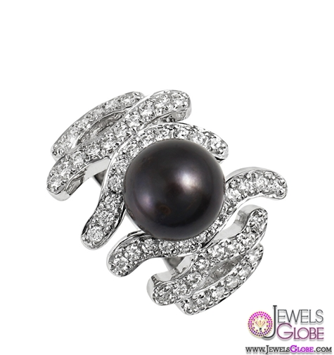 Black-Pearl-and-Diamond-Cocktail-Ring-for-sale Top Pearl Rings For Sale