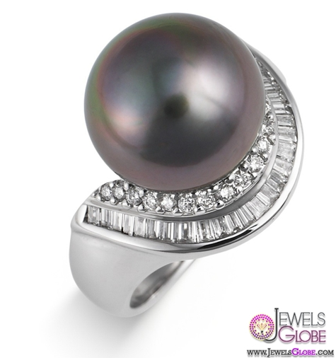 Black-Pearl-and-Diamond-Cocktail-Ring Top Pearl Rings For Sale