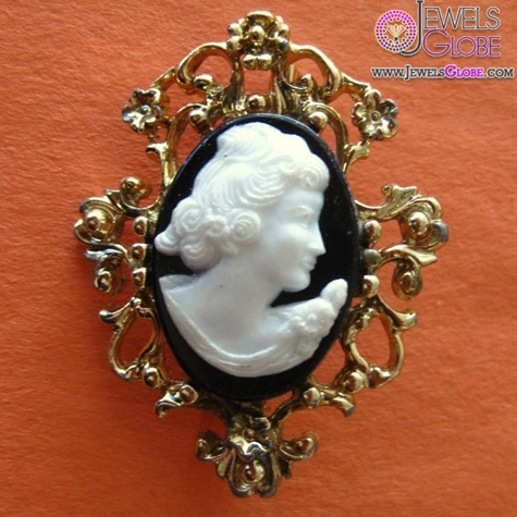 Black-and-White-Cameo-Brooch-on-a-Plated-Filigree-Setting 20 Women Cameo Brooches You'll Only See Here!