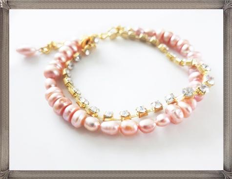 Blush-Pink-Pearl-Bridal-Bracelet-and-Rhinestone 28+ Most Amazing Pearl Bracelets For Brides