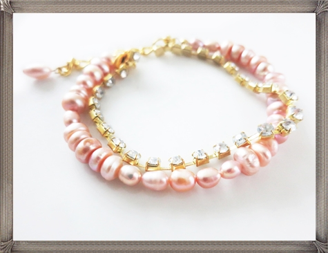 Blush-Pink-Pearl-Bridal-Bracelet-and-Rhinestone 28+ Most Amazing Pearl Bracelets For Brides in 2020