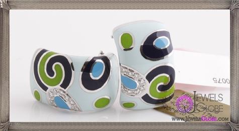 Brand-New-ROBERTO-COIN-18K-White-Gold-Pave-Diamond-Enamel-Earrings Best 18 Roberto Coin Earrings Designs