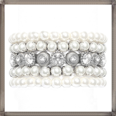 Bridal-Bracelet.-Pearl-Rhinestone-Bracelet 28+ Most Amazing Pearl Bracelets For Brides in 2020