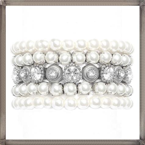Bridal-Bracelet.-Pearl-Rhinestone-Bracelet 28+ Most Amazing Pearl Bracelets For Brides