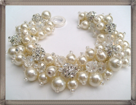 Bridal-Jewelry-Wedding-Pearl-Bridesmaid-Bracelet-Pearl-and-Rhinestone 28+ Most Amazing Pearl Bracelets For Brides