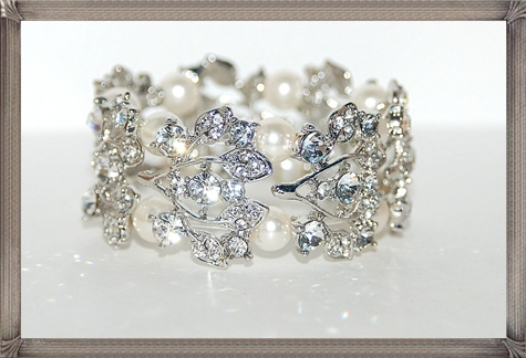 Bridal-Pearl-And-Rhinestone-Bracelet-Wedding-Bracelet 28+ Most Amazing Pearl Bracelets For Brides
