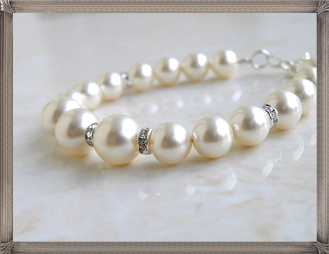 Bridal-Pearl-Bracelet-Ivory-Swarovski-Sterling-Silver-Bracelet 28+ Most Amazing Pearl Bracelets For Brides in 2020