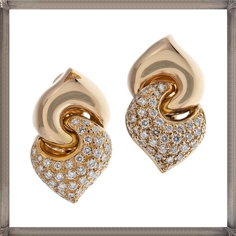 Bulgari-Diamond-Yellow-Gold-Earrings Latest Gold Earrings Designs 2019