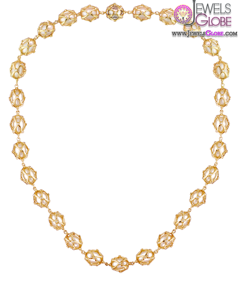Caged-gold-pearl-necklace Top 20 Pearl Gold Necklace Designs