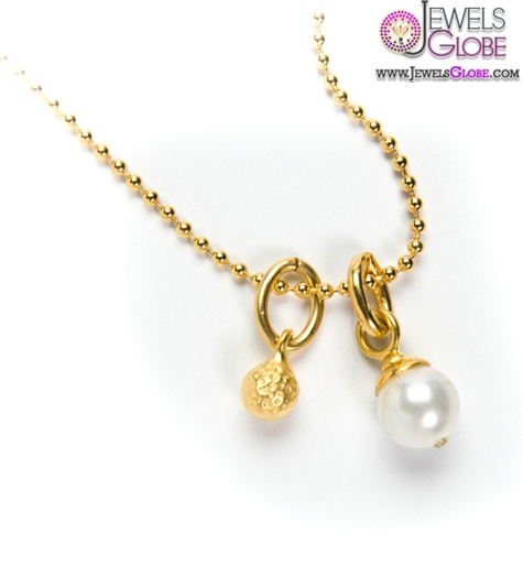 Chain-Necklace-with-Gold-Golf-Charm-and-White-Pearl Top 20 Pearl Gold Necklace Designs