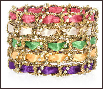 Chain-Ribbon-Crystal-Assorted-Colors-Bangle Best 7 Bangles Collection That Amaze Each Woman