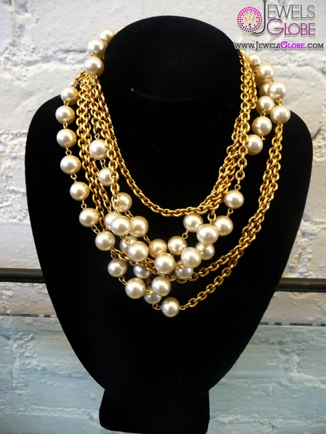 Chanel-all-gold-chain-with-flat-medaillons-and-pearl Top 20 Pearl Gold Necklace Designs