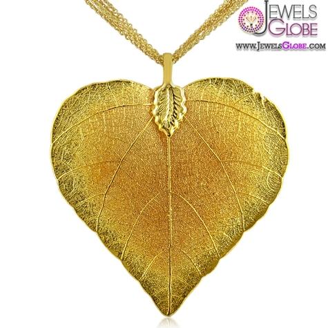 Cool-designer-24-karat-gold-overlay-leaf-pendant-women-design-on-a-5-strand-gold-overlay The 29 Most Popular Gold Pendant Designs For Women