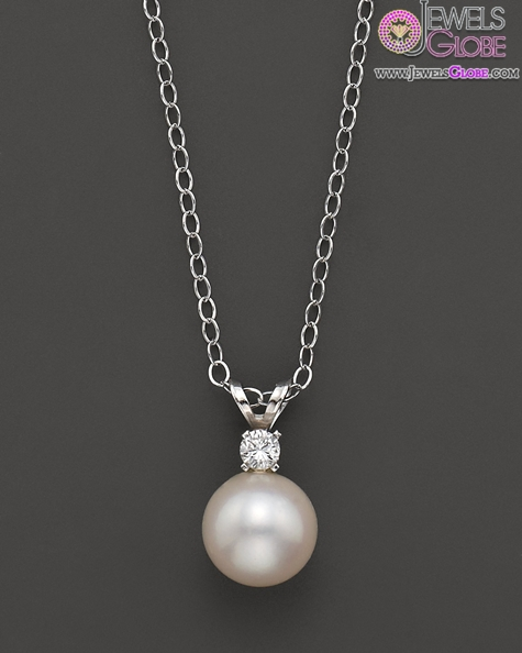 Cultured-Pearl-Pendant-White-Gold-Necklace Top 20 Pearl Gold Necklace Designs