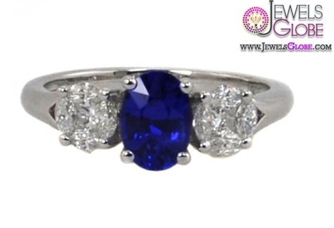 Dark-Blue-Sapphire-and-Diamond-Three-Stone-Ring Top 21 Blue Sapphire Engagement Rings Designs