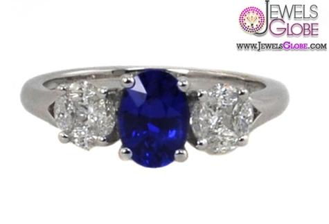 Dark-Blue-Sapphire-and-Diamond-Three-Stone-Ring Top 21 Blue Sapphire Engagement Rings Designs