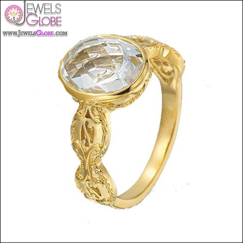 Delatori-18kt-Gold-Plated-Sterling-Silver-Ring-with-Clear-Crystal-Center Best Gurhan Jewelry Designs That Amaze Women