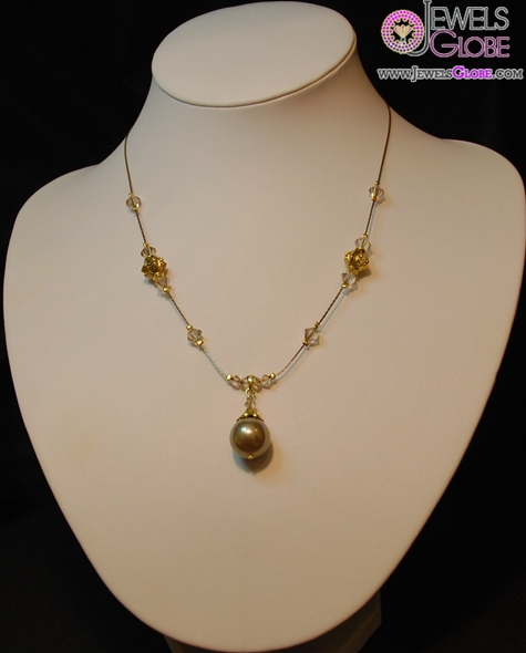 Delicate-light-brown-shell-based-pearl-necklace-on-antique-gold-chain Top 20 Pearl Gold Necklace Designs