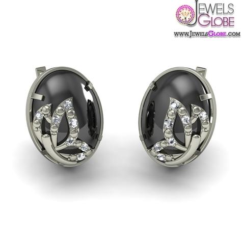 Diamond-And-Black-Onyx-Earring-In-18Kt-White-Gold Latest Fashion Black Diamond Earrings For Women