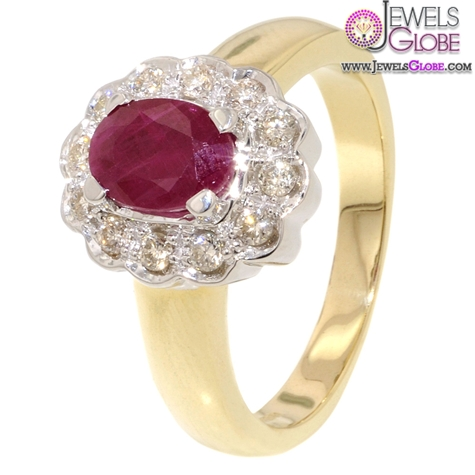 Diamond-Cluster-Ruby-Engagement-Ring The Most Stylish Gemstone Engagement Rings
