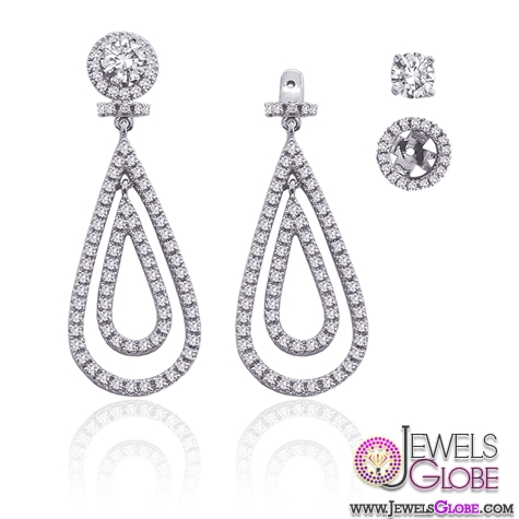 Diamond-Detachable-Teardrop-Earring 12 Diamond Teardrop Earrings Hot Designs For Women