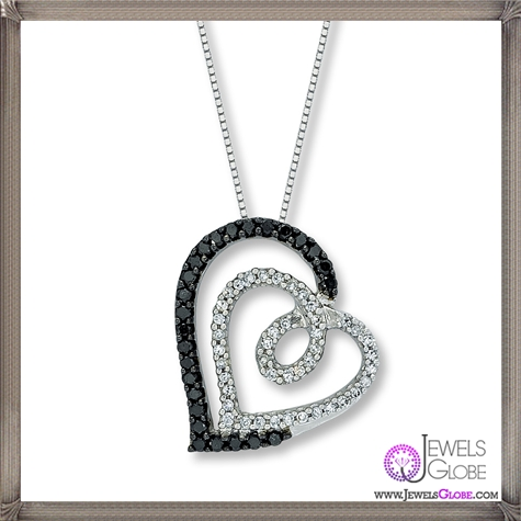 Diamond-Heart-Necklace-Black-White-14K-White-Gold The 28 Best Diamond Heart Necklaces & Pendants For Women and Buying TIPS