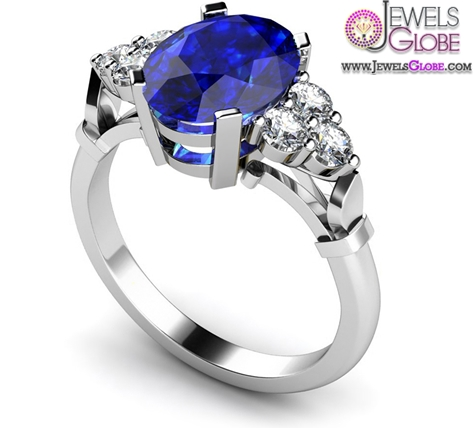 Diamond-and-Blue-Sapphire-Engagement-Ring Top 21 Blue Sapphire Engagement Rings Designs