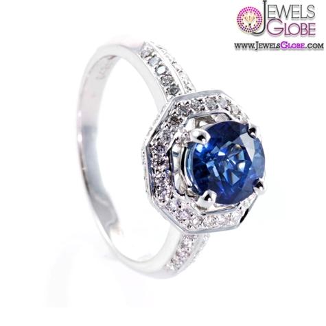 Diamond-and-Dark-Blue-Sapphire-Engagement-Ring Top 21 Blue Sapphire Engagement Rings Designs