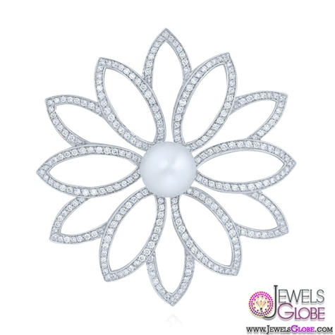 Diamond-brooch-with-pearl-center-from-the-Kwiat-Collection-in-18K-white-gold 13 Stylish Diamond Brooches and Pins Designs For Women