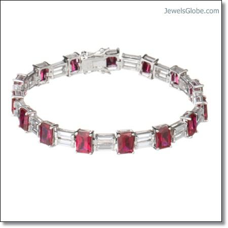 Diamonique-Tova-19ct-Art-Deco-Style-Tennis-Bracelet-Sterling-Silver-ruby The 16 Top Ruby Tennis Bracelet Designs