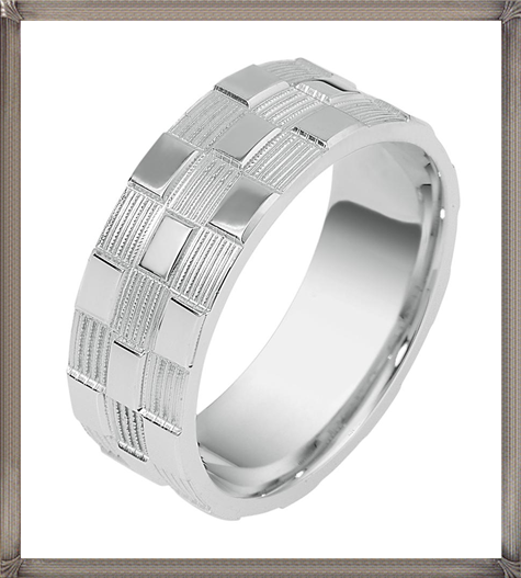 Dora-CodeXY-Collection-Alternating-Bricks-Mens-Wedding-Band 5 CRITICAL Tips You Should Keep in Mind When Buying Men's Silver Wedding Bands