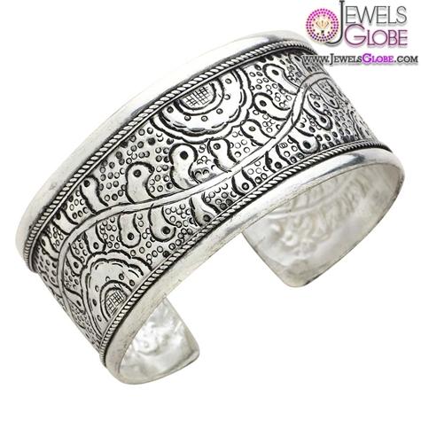 Embossed-Silver-Women-Cuff-Bracelet 35 Hot Cuff Bracelets For Women