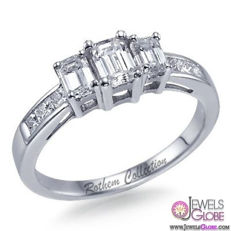 Emerald-Cut-3-Stone-Diamond-Engagement-Ring Top Designed 3 Stone Signature Emerald Cut Rings