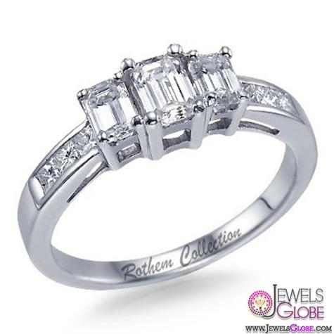 Emerald-Cut-3-Stone-Diamond-Engagement-Ring Top Designed 3 Stone Signature Emerald Cut Rings