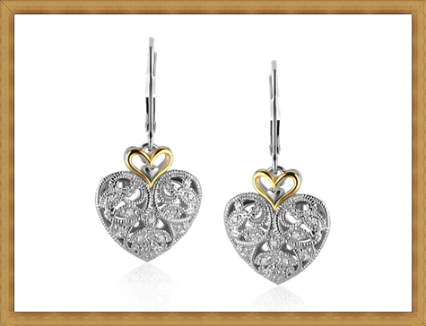 Filigree-Heart-Earrings-with-Diamonds-in-Sterling-Silver-and-14K-Yellow-Gold Best Ways to Choose Most Stylish Earrings