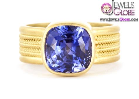 Fine-5-Braid-Ring-with-Cushion-Cut-Blue-Sapphire Top 21 Blue Sapphire Engagement Rings Designs