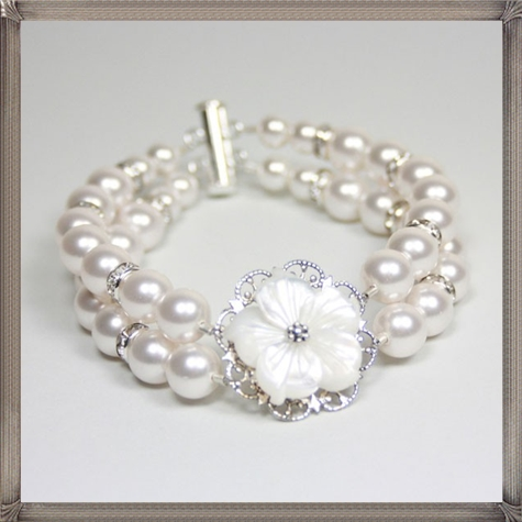 Flora-Bella-Double-Strand-Swarovski-Pearl-Bracelet 28+ Most Amazing Pearl Bracelets For Brides