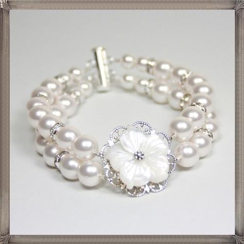 Flora-Bella-Double-Strand-Swarovski-Pearl-Bracelet 28+ Most Amazing Pearl Bracelets For Brides in 2020