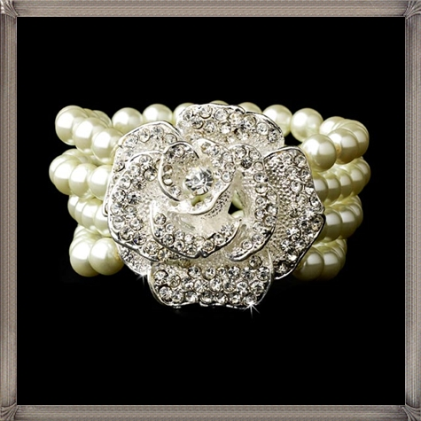 Floral-Centered-Ivory-Pearl-Bracelet 28+ Most Amazing Pearl Bracelets For Brides in 2020