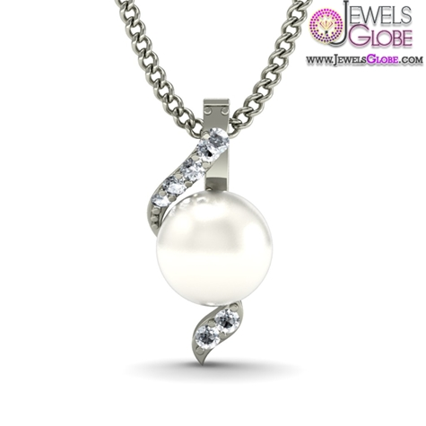 Fresh-Water-Pearl-And-Diamond-Pendant-In-18Kt-White-Gold-Necklace Top 20 Pearl Gold Necklace Designs