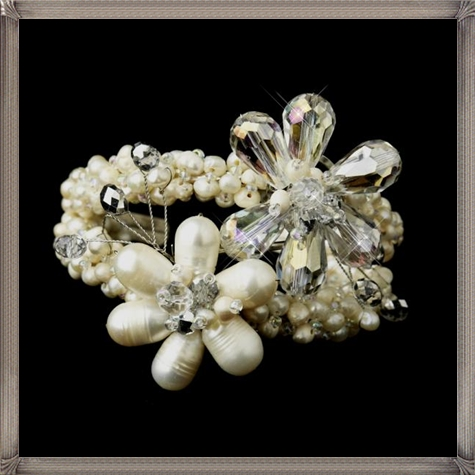 Freshwater-Pearl-Crystal-Bridal-Cuff-Bracelet 28+ Most Amazing Pearl Bracelets For Brides