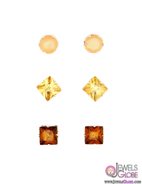 Gem-Stud-Earring-Trio The 43 Hottest Gemstone Drop And Stud Earrings Designs for Women